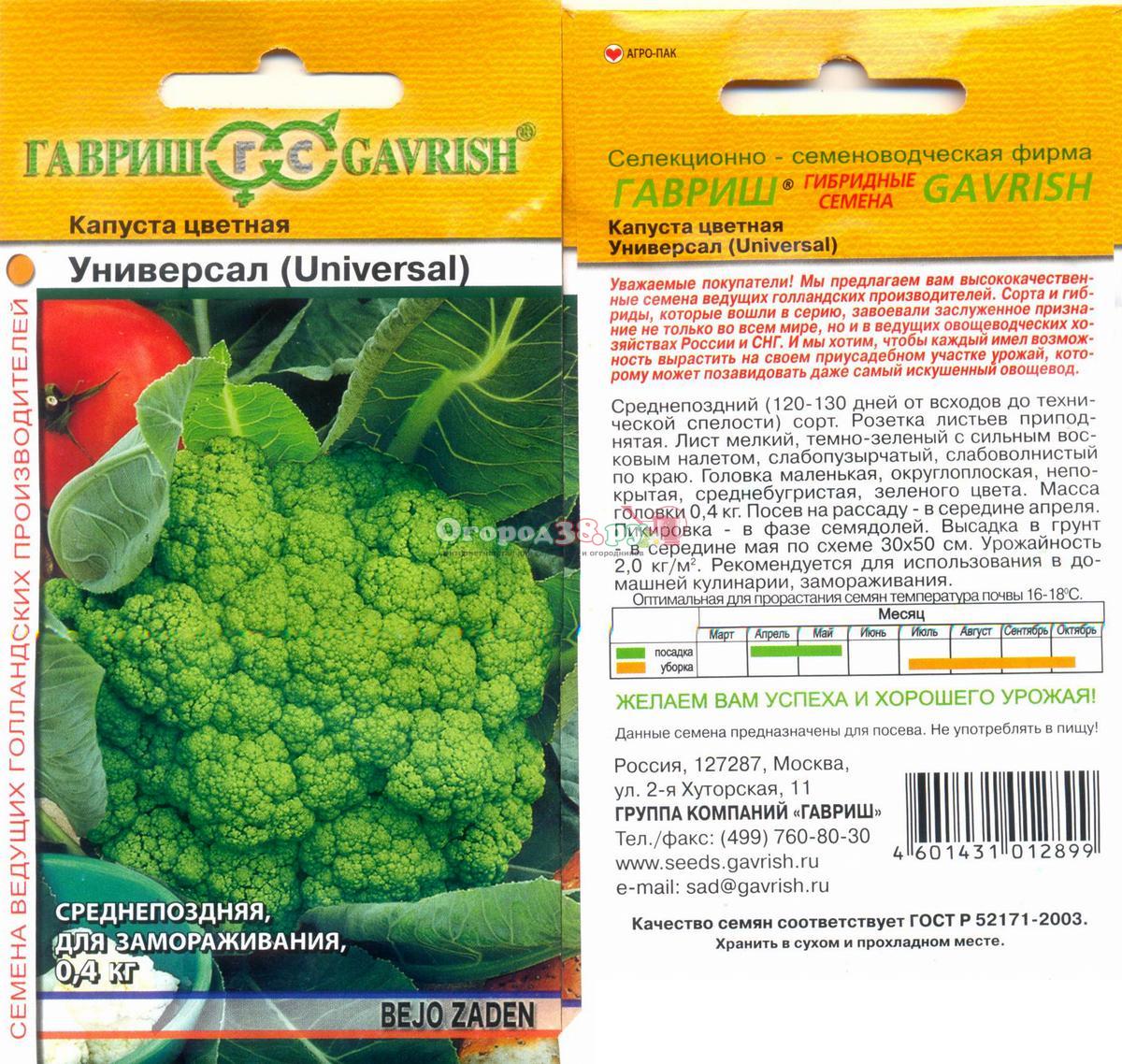 капуста цветная семена лучшие сорта для открытого грунта